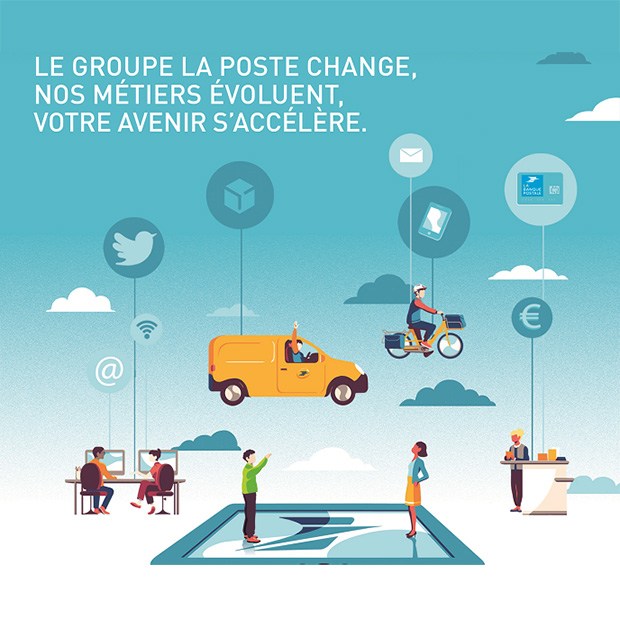Illustration « Le Groupe La Poste change, nos métiers évoluent, votre avenir s'accélère »
