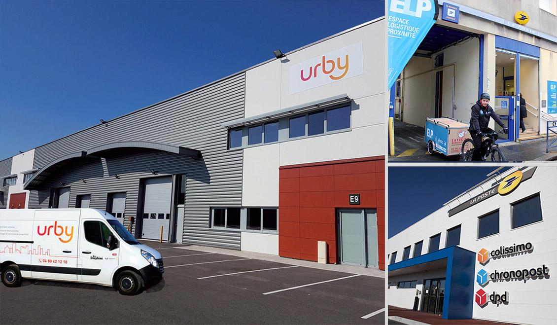 Photo avec un entrepôt Urby, un Espace logistique de proximité (ELP) et un Hôtel logistique urbain (HLU).