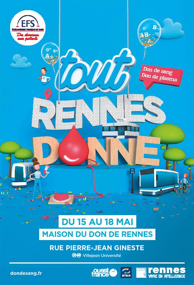 """Affice de l'appel à don du sang """"Tout Rennes Donne"""""""