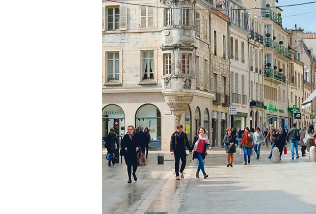 Photo of a pedestrian area in a city.