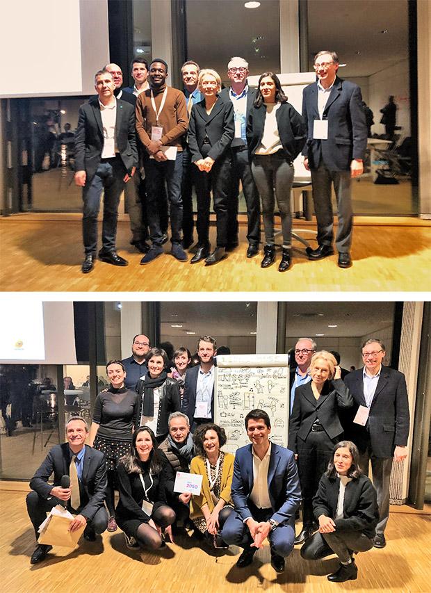 Photo avec en haut, l'équipe qui a remporté le Prix de l'Innovation, et en bas, celle qui a remporté le Prix du territoire.