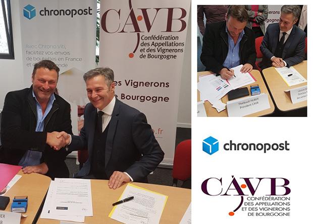 Photo avec, à gauche, Thiébault Huber, président de la CAVB, et à droite, Laurent Ferraris, directeur national des ventes Chronopost.