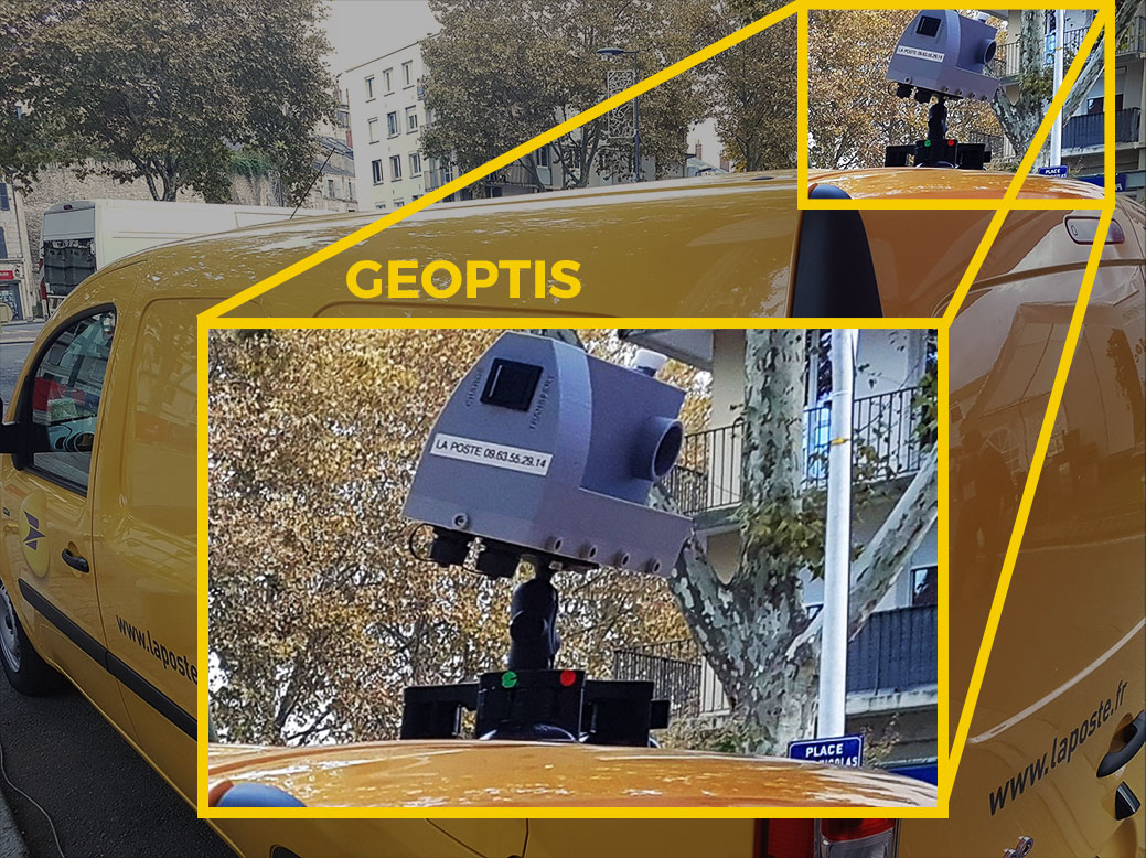A postal vehicle presented at the SIIViM equipped with the camera collecting street-related information as part of the Geoptis service.
