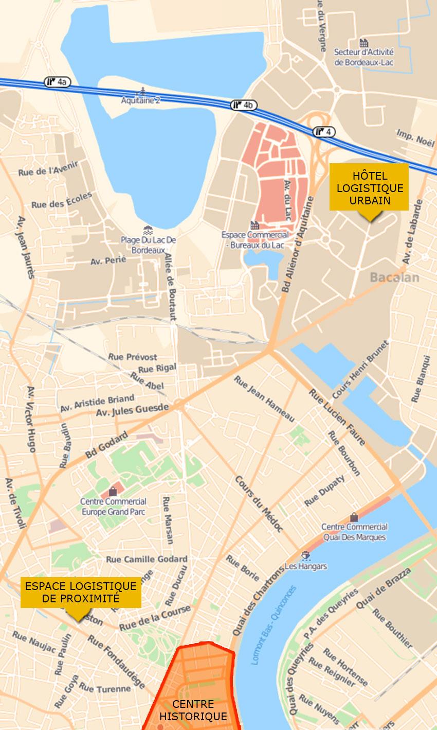 Plan de bordeaux avec la localisation du HLU
