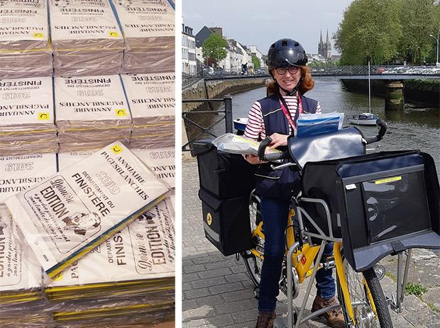 Photos de plusieurs piles des annuaires collectors distribués dans le Finistère, avec à droite, Frédérique Deniel, factrice à Quimper, des exemplaires à distribuer dans la main.