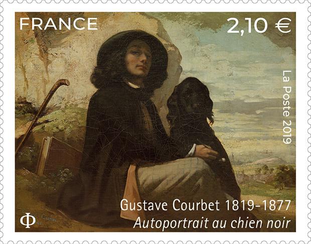 Timbre hommage à Gustave Courbet représentant l'une de ses œuvres, l'Autoportrait au chien noir.