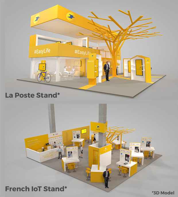 3D Models of La Poste Stand and French IoT Stand