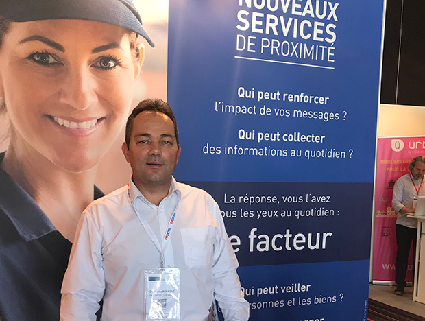 Christophe Rouesné, Sales Director at Docapost Localeo at the Le Groupe La Poste booth.