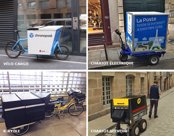 Photos de quatre véhicules susceptibles d'être utilisés par La Poste pour assurer des tournées sans rejets carbonés ni particules fines : vélo cargo, chariot électrique, K-Ryole et chariot suiveur.