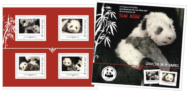 Stamps showing panda Yuan MengStamps issued by La Poste showing the panda Yuan Meng to celebrate his birth in France