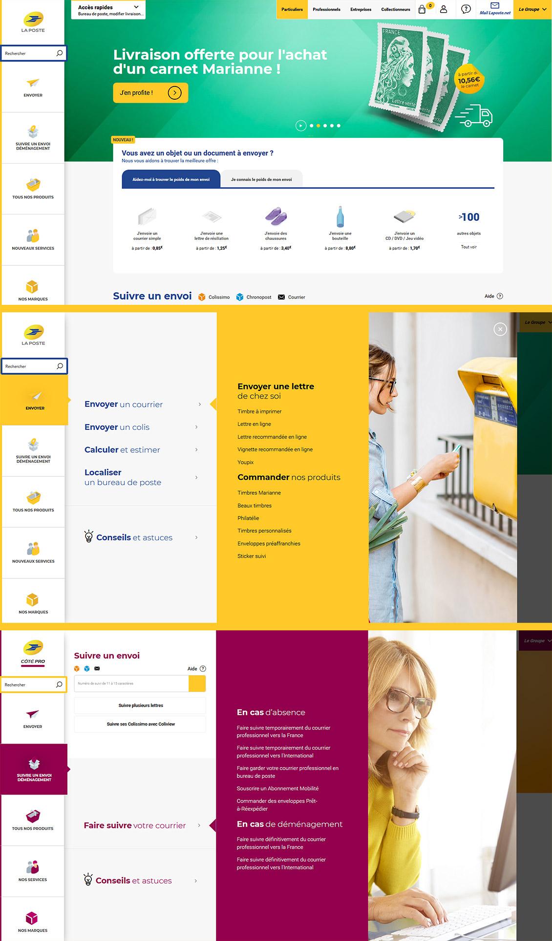 Une sélection d'écrans du site laposte.fr : l'utilisateur est invité à préciser son besoin à travers deux panneaux verticaux, pour une réponse en seulement trois clics.