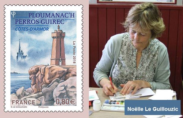 Noëlle Le Guillouzic - Stamp of Ploumanac'h lighthouse.