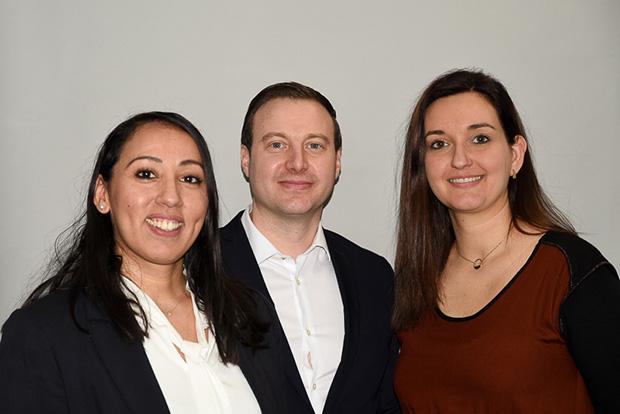 De gauche à droite : Ilham Himmes, chargée d'affaires, centre d'affaires entreprises de vaucluse, Christophe Mardelle, directeur du centre d'affaires entreprises de Vaulcuse, Sarah Casquet, assistante commerciale.