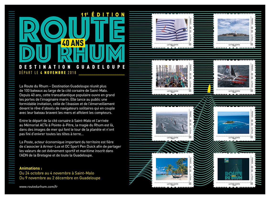 "Le collector de 8 timbres ""Route du Rhum - 40 ans - Destination Guadeloupe"""