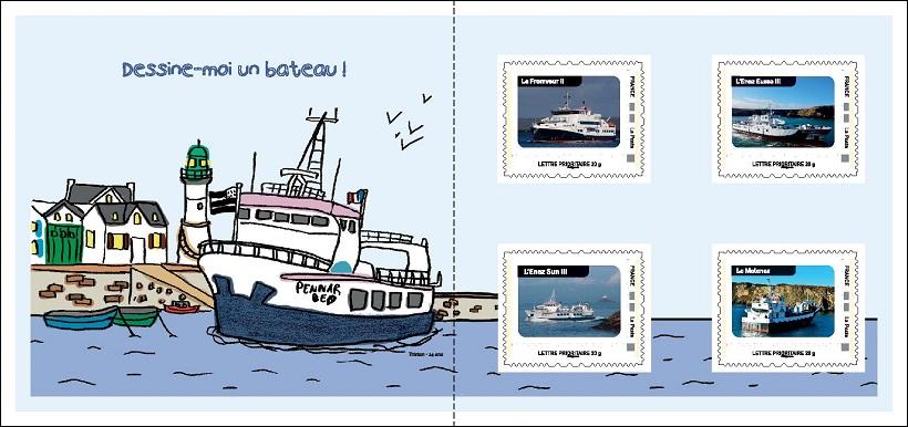 Le livret de 4 timbres créé par la Compagnie maritime Penn Ar Bed (Keolis maritime) grâce à la solution ID Timbres.