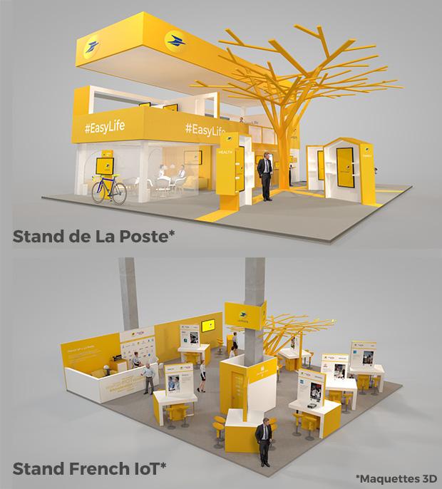 Maquettes 3D du stand de La Poste et du stand French IoT