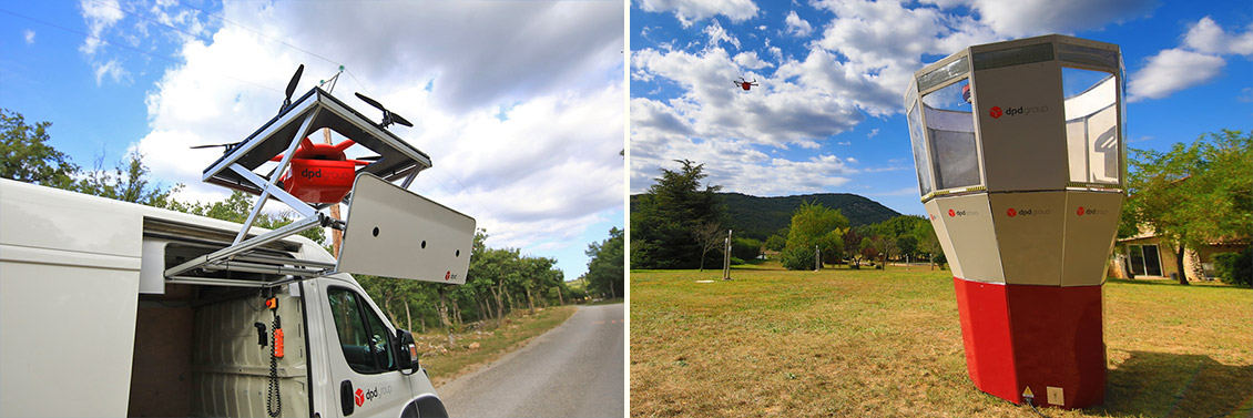Two photos, one of a drone at the start, on the retractable platform of a DPDgroup vehicle, the other on arrival, approaching a receiving station.
