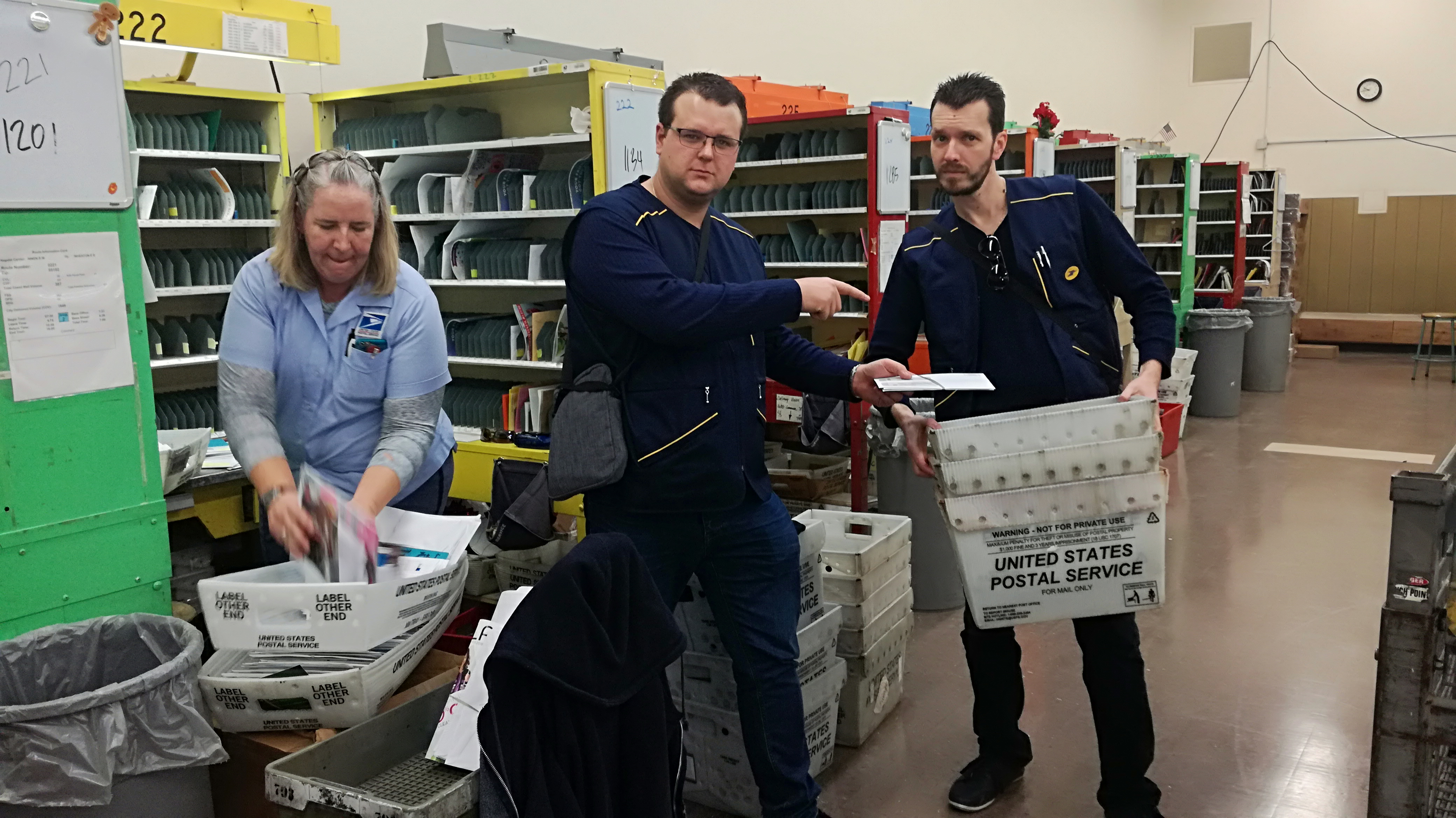 Patrice Labit and his colleagues spent half a day with American postal workers.