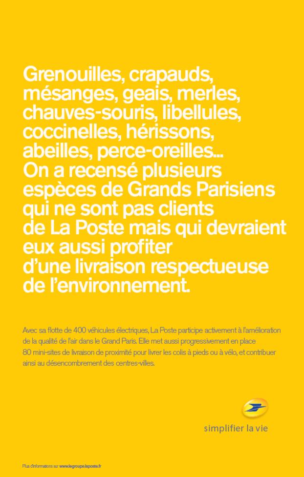 Affiche d'une campagne de communication de La Poste sur ses livraisons respectueuses de l'environnement