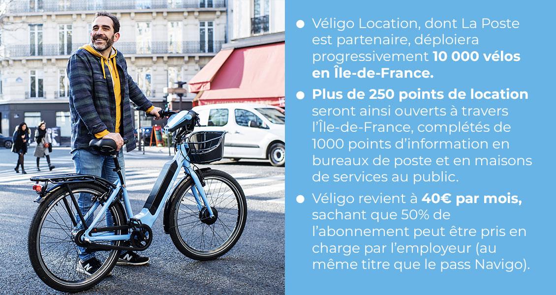Une photo avec le texte : Véligo Location, dont La Poste est partenaire, déploiera progressivement 10 000 vélos en Île-de-France. Plus de 250 points de location seront ainsi ouverts à travers l'Île-de-France, complétés de 1000 points d'information en bureaux de poste et en maisons de services au public. Véligo revient à 40€ par mois, sachant que 50% de l'abonnement peut être pris en charge par l'employeur (au même titre que le pass Navigo).