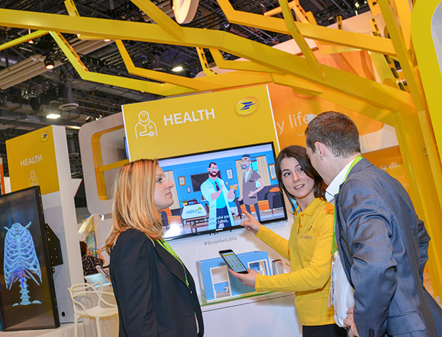 E-health section of La Poste's booth at the CES 2018