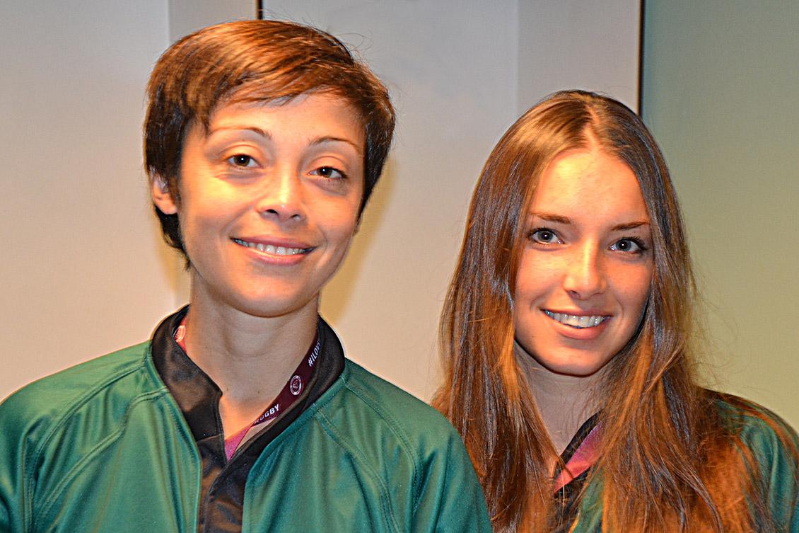 Lucie Laporte et Jade Izquierdo, arbitres, ont sifflé le coup d'envoi, le 28 octobre, de la rencontre Union Bordeaux-Bègles/Rugby Lyon.