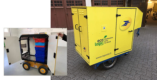 Une photo du chariot suiveur colis et de la remorque K-Ryole.