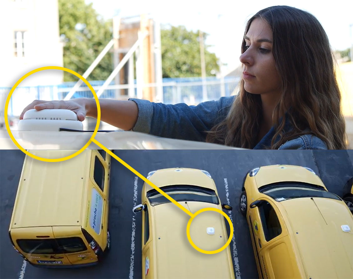 The detachable sensor can be installed on any type of vehicle. Here, on a postal utility vehicle.