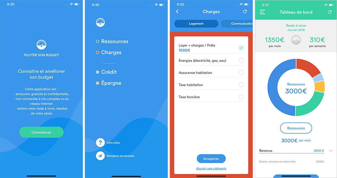 Quatre captures d'écran de l'application PiloteBudget