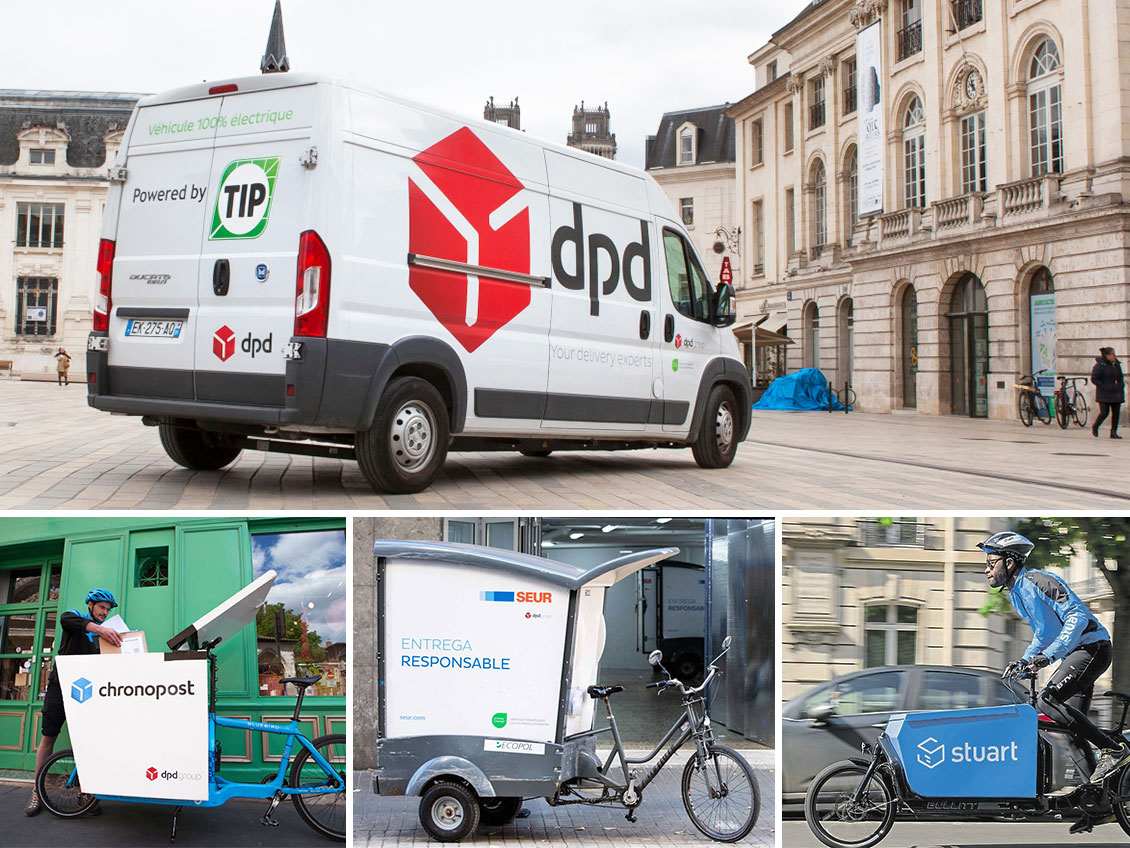 Four photos with electric or non-motorized vehicles of DPDgroup and its subsidiaries: DPD van, Chronopost and Stuart cargo-bike, SEUR bike-trailer.