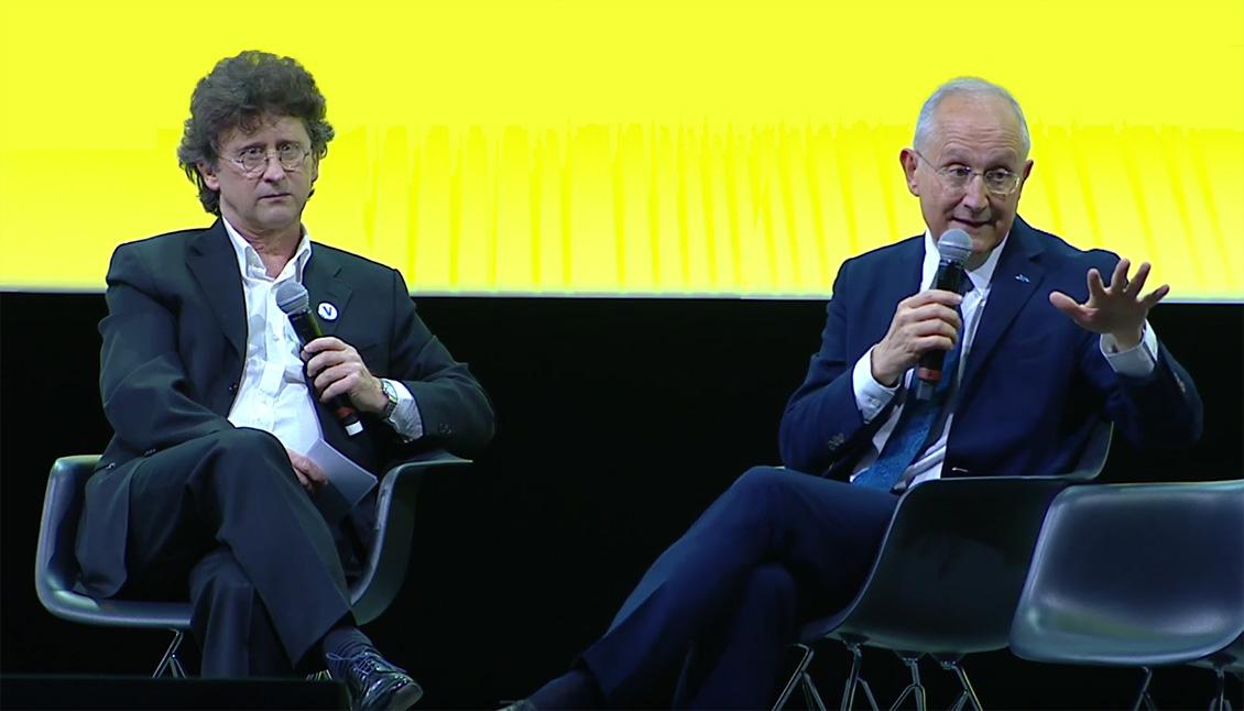 Photo de Nicolas Barré et de Philippe Wahl lors de la conférence sur la logistique urbaine organisée à Vivatech 2019.